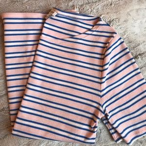 j.crew pink & blue striped quarter sleeve boatneck